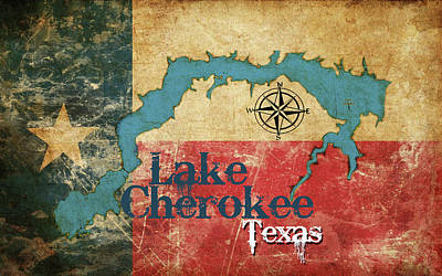 Digital Art - Vintage Map - Lake Cherokee Texas by Greg Sharpe