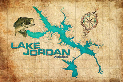 Animals Digital Art - Vintage Map - Lake Jordan AL by Greg Sharpe