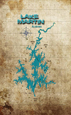 Digital Art - Vintage Map - Lake Martin Al by Greg Sharpe