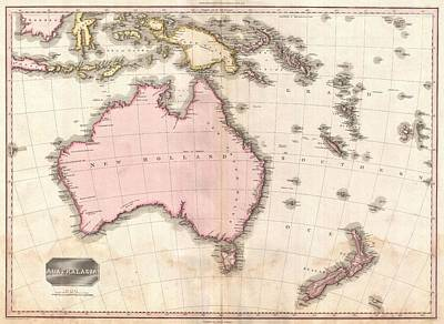 Oceania Drawing - Vintage Map Of Australia  by Adam Shaw