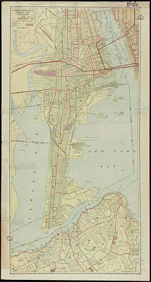 Nj Drawing - Vintage Map Of Bayonne Nj - 1912 by CartographyAssociates