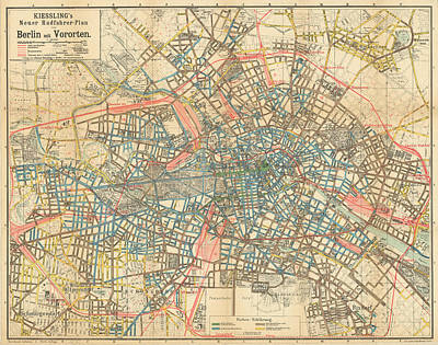 Berlin Map Drawings Fine Art America - Vintage map berlin