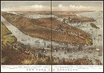 Vintage Map Of Brooklyn And New York Art Print by Pd