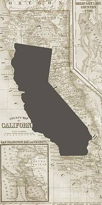 Drawing - Vintage Map Of California Phone Case by Edward Fielding