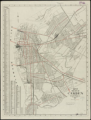 Camden Drawing - Vintage Map Of Camden Nj - 1921 by CartographyAssociates