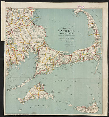 Cape Cod Drawing - Vintage Map Of Cape Cod - 1917 by CartographyAssociates