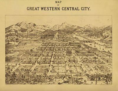 Vintage Map Of Central City Colorado Art Print by Mountain Dreams