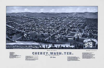Photograph - Vintage Map Of Cheney Washington - Cool Tone by Mark Kiver