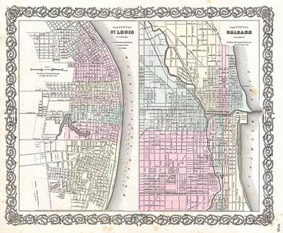 Heartland Drawing - Vintage Map Of Chicago And St. Louis  by CartographyAssociates