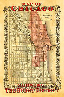 Old Chicago Water Tower Photograph - Vintage Map Of Chicago Fire by Stephen Stookey