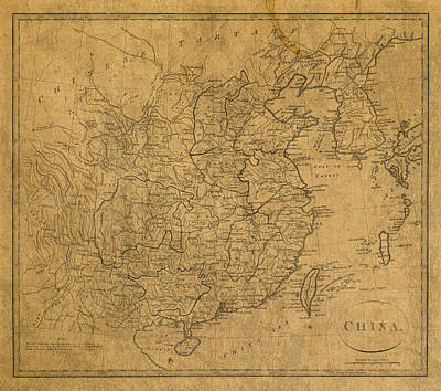 Vintage Map Mixed Media - Vintage Map Of China 1799 by Design Turnpike