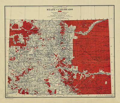 Drawing - Vintage Map Of Colorado by Vintage Pix