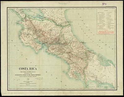 Vintage Map Of Costa Rica - 1903 Art Print