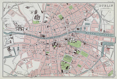 Drawing - Vintage Map Of Dublin From 1901 by English School