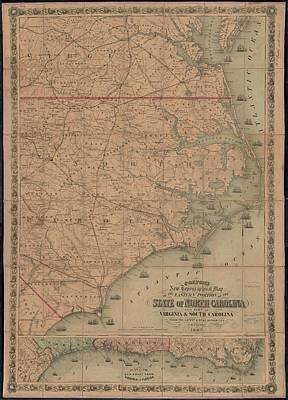 Watercolor Typographic Countries - Vintage Map of Eastern North Carolina - 1862 by CartographyAssociates