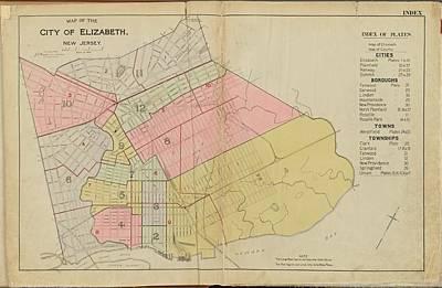 Nj Drawing - Vintage Map Of Elizabeth Nj - 1902 by CartographyAssociates