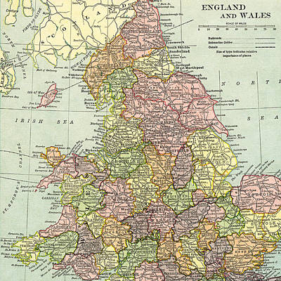 Photograph - Vintage Map Of England And Wales  by Digital Art Cafe