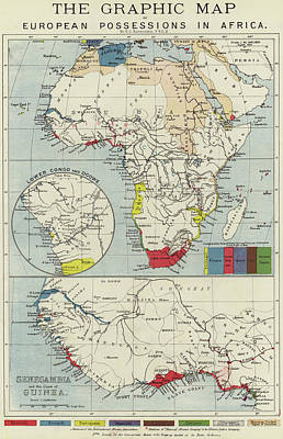 Imperial Drawing - Vintage Map Of European Possessions In Africa by English School