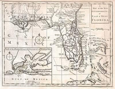 Vintage Map Of Florida Art Print