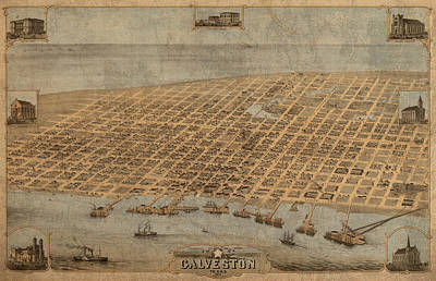 Map Of Texas Mixed Media - Vintage Map Of Galveston Texas 1871 Birds Eye Street View  by Design Turnpike