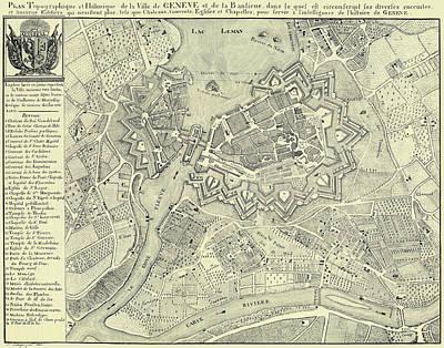 Clouds Rights Managed Images - Vintage Map of Geneva Switzerland - 1825 Royalty-Free Image by CartographyAssociates