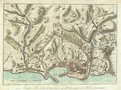 Genoa Drawing - Vintage Map Of Genoa Italy - 1800 by CartographyAssociates