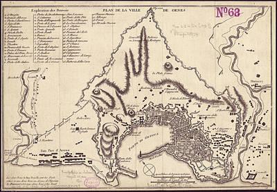 Genoa Drawing - Vintage Map Of Genoa Italy - 1823 by CartographyAssociates
