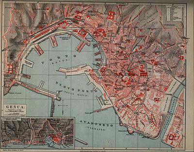 Genoa Drawing - Vintage Map Of Genoa Italy - 1894 by CartographyAssociates
