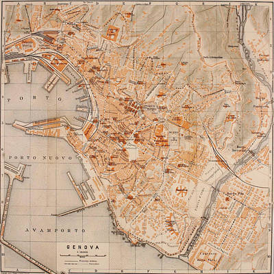 Genoa Drawing - Vintage Map Of Genoa Italy - 1906 by CartographyAssociates