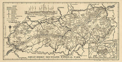 Great Smoky Mountains Drawing - Vintage Map Of Great Smoky Mountains National Park From 1941 by Blue Monocle