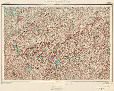 Tennessee Map Drawing - Vintage Map Of Great Smoky Mountains National Park - Usgs Topographic Map - 1949 by Blue Monocle