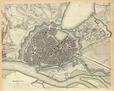 Hamburg Drawing - Vintage Map Of Hamburg Germany - 1841 by CartographyAssociates