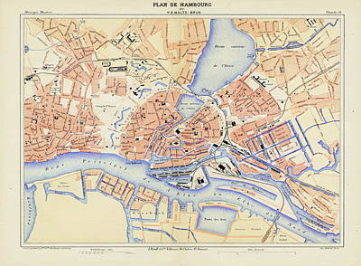 Hamburg Drawing - Vintage Map Of Hamburg Germany - 1888 by CartographyAssociates