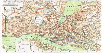 Hamburg Drawing - Vintage Map Of Hamburg Germany - 1890 by CartographyAssociates