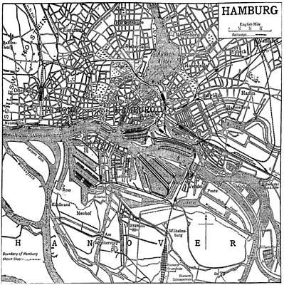 Hamburg Drawing - Vintage Map Of Hamburg Germany - 1911 by CartographyAssociates