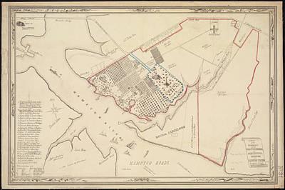 Abstract Sailboats - Vintage Map of Hampton Virginia - 1867 by CartographyAssociates