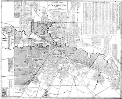 Texas Drawing - Vintage Map Of Houston - 1920 by CartographyAssociates