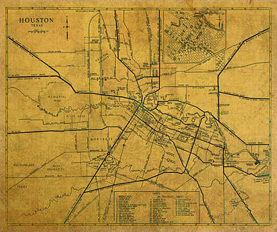 Map Of Texas Mixed Media - Vintage Map Of Houston Texas City Schematic On Worn Old Parchment  by Design Turnpike