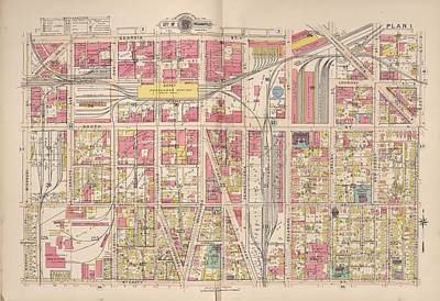 Indianapolis Drawing - Vintage Map Of Indianapolis Indiana - 1916 by CartographyAssociates