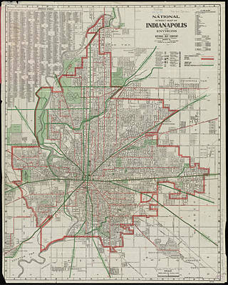 Indianapolis Drawing - Vintage Map Of Indianapolis Indiana - 1921 by CartographyAssociates