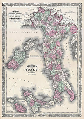 Vatican Photograph - Vintage Map Of Italy by Stephen Stookey
