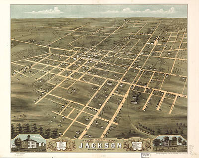 Map Of Tennessee Drawing - Vintage Map Of Jackson Tennessee - 1870 by CartographyAssociates