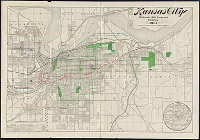 Kansas City Drawing - Vintage Map Of Kansas City - 1893 by CartographyAssociates