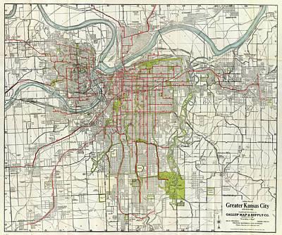 Kansas City Drawing - Vintage Map Of Kansas City Missouri - 1920 by CartographyAssociates