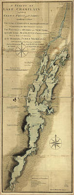 Drawings Royalty Free Images - Vintage Map of Lake Champlain - 1865 Royalty-Free Image by CartographyAssociates
