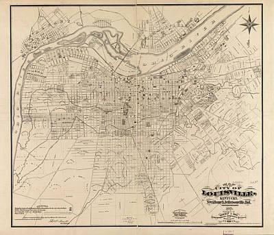 Wild And Wacky Portraits - Vintage Map of Louisville Kentucky - 1873 by CartographyAssociates