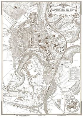 Music Figurative Potraits - Vintage Map of Luxembourg Belgium - 1907 by CartographyAssociates
