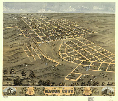 Macon Drawing - Vintage Map Of Macon City Georgia - 1869 by CartographyAssociates