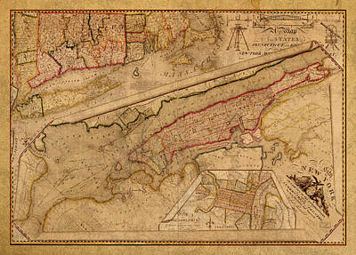 1821 Mixed Media - Vintage Map Of Manhattan Island 1821 Antique On Worn Canvas  by Design Turnpike