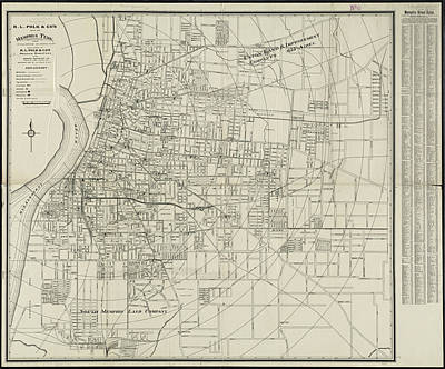 Map Of Tennessee Drawing - Vintage Map Of Memphis Tennessee - 1911 by CartographyAssociates